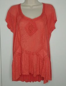 Free People Red embroidered Top